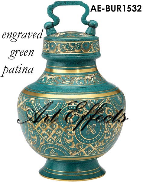 Golden Etched Brass Cremation Urn